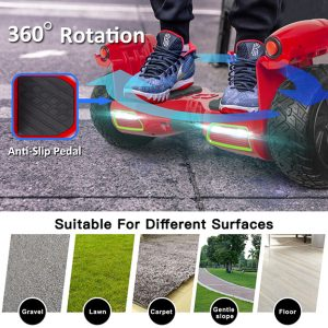 Hoverboard with anti-slip pedals