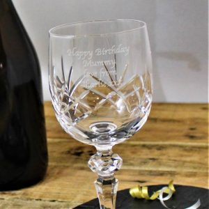 Personalised Wine Glasses - Cut Crystal Wine Glass