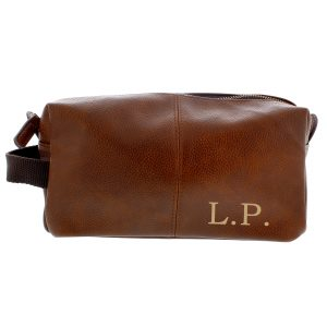 Personalised Luxury Initials Brown Leatherette Wash Bag - Gift For Him