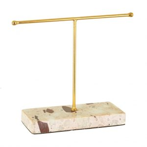 Earring Stand Terrazzo Gold Angle View