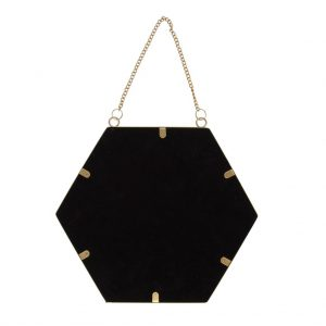 Touch Of Gold Hexagon Mirror Back