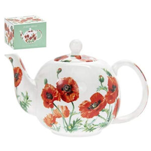 Flowers Teapot Red Poppy Design