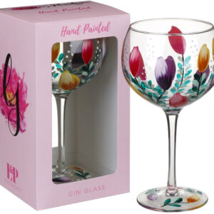 Gin & Tonic Glass / Large / Tulips / Hand Painted