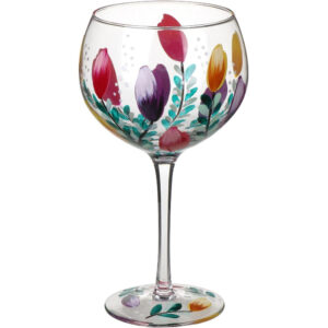 Gin & Tonic Balloon Glass / Large / Tulips / Hand Painted