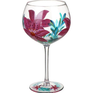 Gin & Tonic Balloon Glass / Large / Lily / Hand Painted