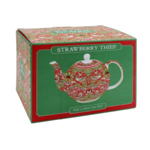 Fine China Teapot Red Strawberry Thief Gift Box