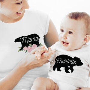 Personalised Mother & Baby Mama Bear T-Shirt And Vest Set (X Large & 0-3mths)